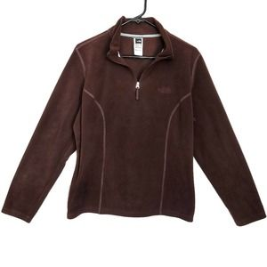 The North Face Women's 1/4 Zip Brown Pullover - XL